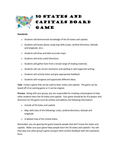 50 States and Capitals Board Game
