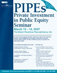 Private Investment in Public Equity Seminar ... - ALM Events