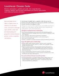 LexisNexis® Dossier Suite - Corporate Counsel - LexisNexis