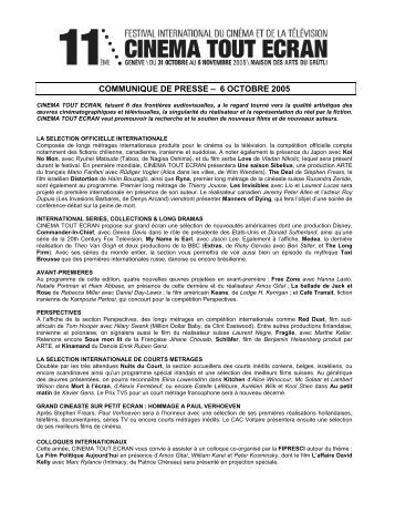 octobre 2005 - Festival TOUS ECRANS