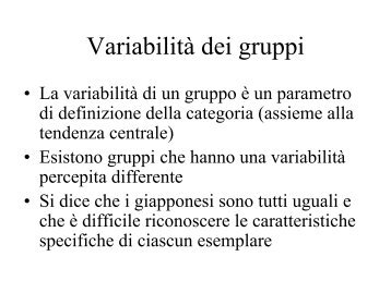 Variabilità dei gruppi - Lettere e Filosofia