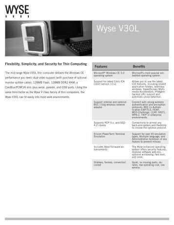 Wyse V30L Datasheet - Wyse Outlet Store
