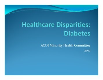 Healthcare Disparities Presentations