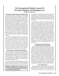 The Occupational Medicine Aspects Of Preventive Medicine And ...