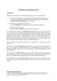 Descriptors of qualification levels