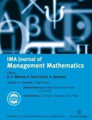 Front Matter (PDF) - IMA Journal of Management Mathematics ...