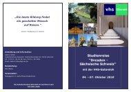 Studienreise Dresden und Sächsische Schweiz - Weeke - Kulturreisen