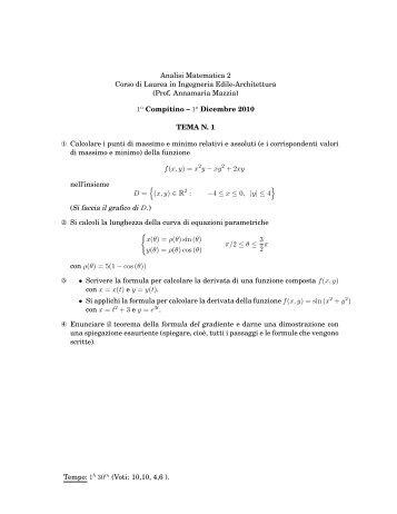 TESTI E SOLUZIONI del primo compitino del 01-12-2010 - Esercizi e ...