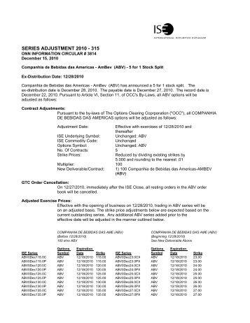 Companhia de Bebidas das Americas (ABV) - 5 for 1 ... - ISE.com