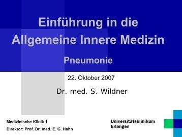Einführung in die Allgemeine Innere Medizin Pneumonie - Medizin 1