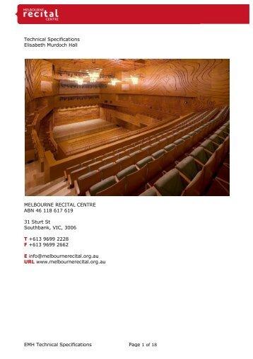 Technical Specifications - Melbourne Recital Centre