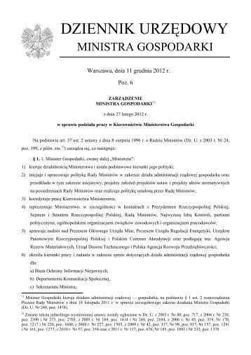MONITOR POLSKI - Ministerstwo Gospodarki