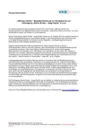 "Presse-Information ""Stiftung Talente ... - VKB-Bank"