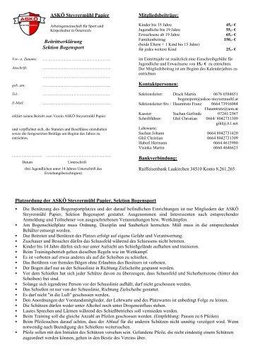 ASKÖ Steyrermühl Papier Beitrittserklärung Sektion Bogensport ...