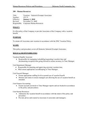 Policy & Procedure Vacation Exempt - Delaware North
