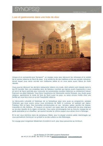 Luxe et gastronomie en Inde - Synopsism