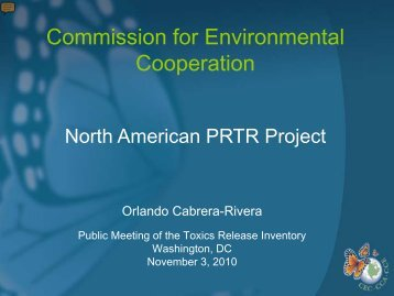 Update on the North American Pollutant Release and Transfer ...