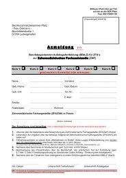 Anmeldung Kursteil 1-6 - Bezirkszahnärztekammer Pfalz