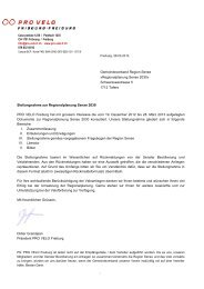 Stellungnahme PRO VELO zur Regionalplanung Sense 2030