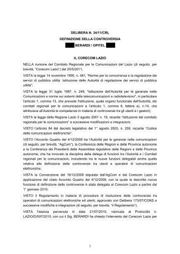 Delibera 34/11/CRL - Corecom Lazio