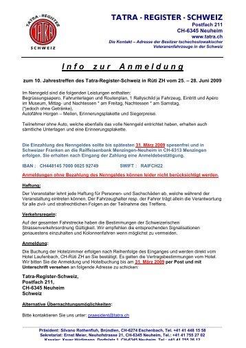 I n f o    z u r    A n m e l d u n g - Tatra - Register - Schweiz