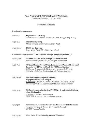 Final Program 6th FIB/SEM DA-CH Workshop - EMEZ - ETH Zürich
