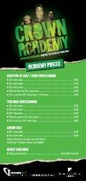 CG=Addington Orbis Golf Academy DL Price List=Jan13 1933 v3.indd
