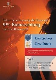9 % Bonuszahlung - Bankhaus Krentschker & Co. Aktiengesellschaft