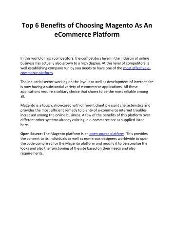Top 6 Benefits of Choosing Magento As An eCommerce Platform