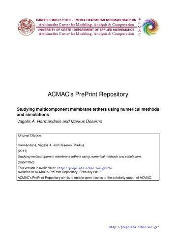 Download (118Kb) - ACMAC's PrePrint Repository