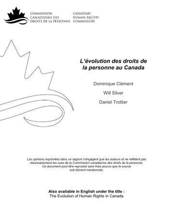L'évolution des droits de la personne au Canada - Publications du ...