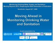 Moving Ahead in Monitoring Drinking Water and Sanitation - WSP