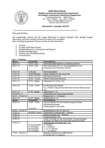 2. Elternbrief Schuljahr 2012/2013 - Edith Stein Schule
