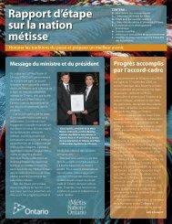 Rapport d'étape sur la nation métisse - Metis Nation of Ontario