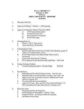 Agenda - piaa district 5