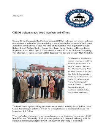 CBMM welcomes new board members and officers - Chesapeake ...