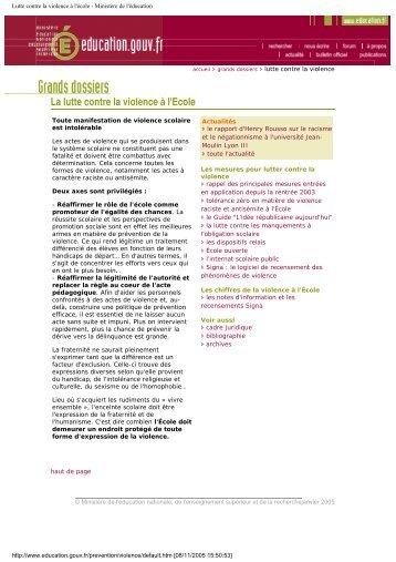 Lutte contre la violence à l'école - Ministère de l ... - Vie publique