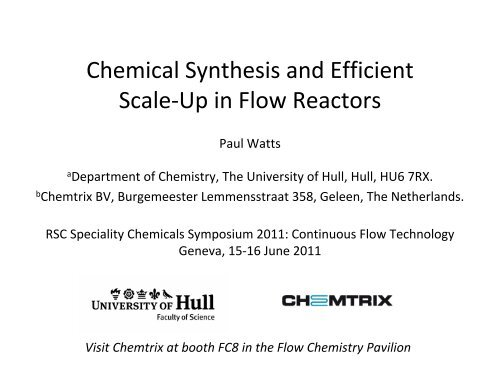 Chemical Synthesis and Efficient Scale-Up in     - Chemspec