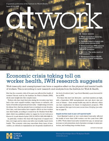At Work 58 (Fall 2009) - Institute for Work & Health