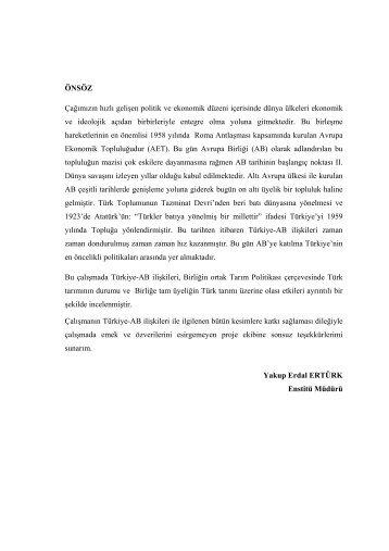 türkiye-avrupa birliği ilişkileri ve tarım sektörü açısından ...