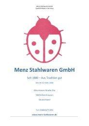 PDF-Katalog, Deutsch, 1 MB - Menz Stahlwaren GmbH