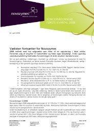 koncernregnskabsmeddelelse for 1. kvartal 2008 i pdf ... - Novozymes