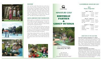 Birthday Parties & GrouP outinGs - City of Gaithersburg