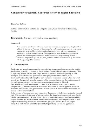 Collaborative Feedback: Code Peer Review in Higher ... - ICL