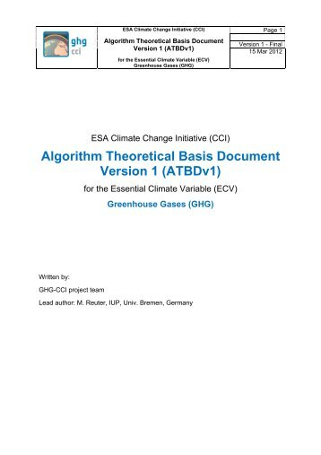 Algorithm Theoretical Basis Document Version 1 (ATBDv1) - GHG-CCI