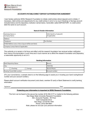 Accounts Payable Direct Deposit Authorization Form - Tarleton