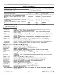 Biographical Sketch Format Page - University of South Florida