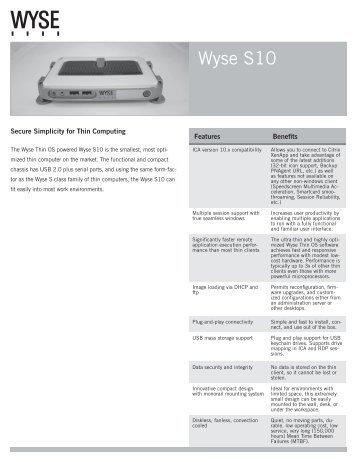Wyse S10 Datasheet - Wyse Outlet Store