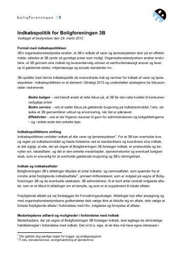 Indkøbspolitik for Boligforeningen 3B