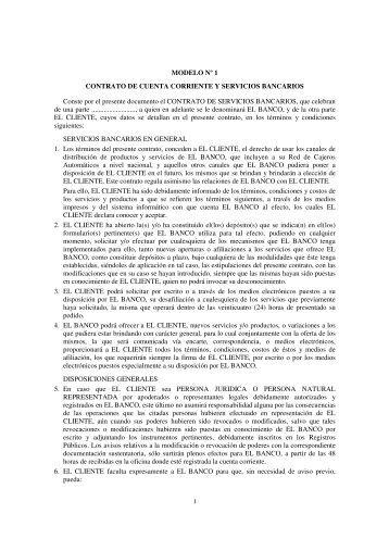 Contrato de Cuenta Corriente y Servicios Bancarios - Notaría ...